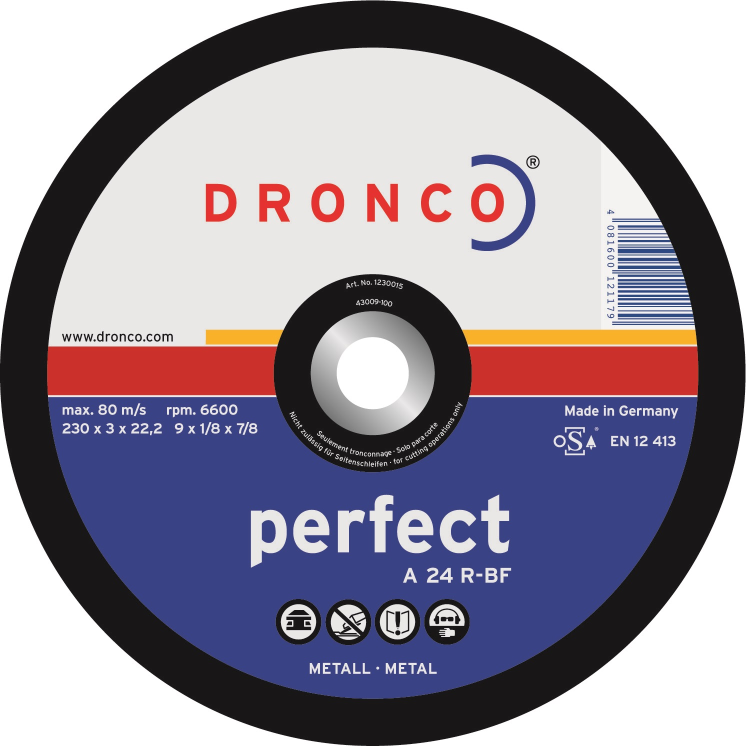 Dronco Metal Cutting Disc Flat - 115mm