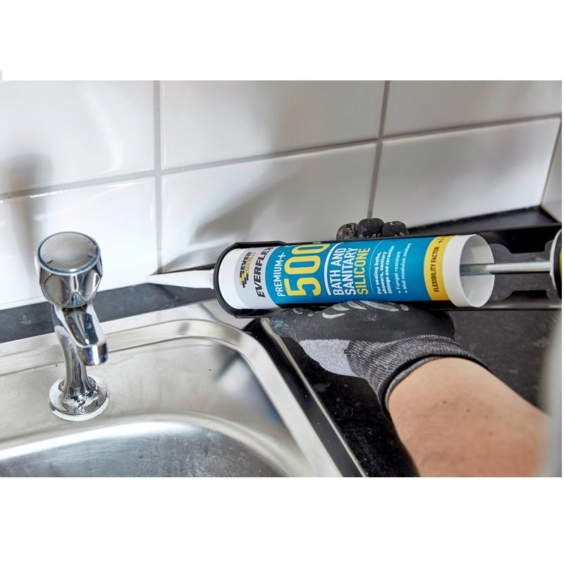 Everbuild Everflex 500 Bath & Sanitary Silicone 310ml - White