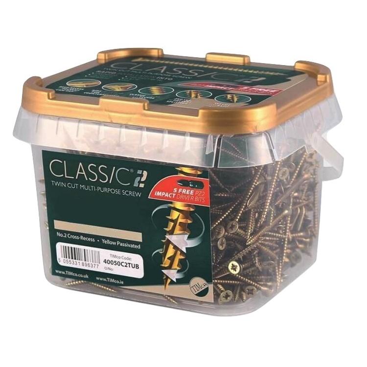 C2 Classic Woodscrews in Tubs - 4 x 50mm