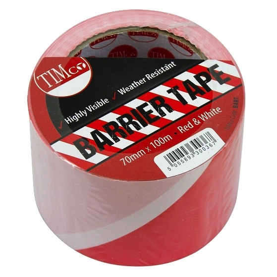 PE Barrier Tape - Red & White 100 mtrs