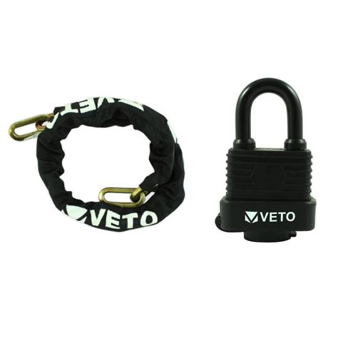 Veto Weatherproof Padlock & Chain Combo