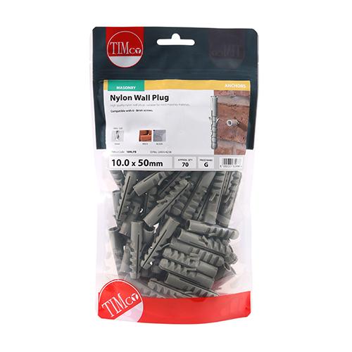 Nylon Wall Plugs - M10 x 50mm