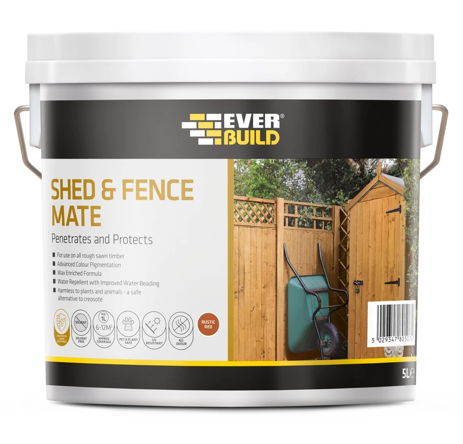 Everbuild Shed & Fence Mate 5Ltr - Rustic Red